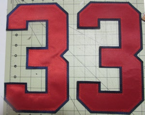 """NOS Tackle Poly Twill 4/"""" 3 Tone Number 8 SEWN Black on Gray on Red Iron//Sew on"""